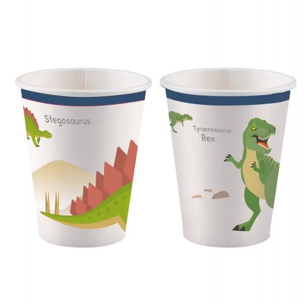 8 Happy Dinosaur Papier Becher 250ml