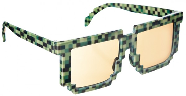 Crazy Pixel Glasses Black & Green Gamer Party