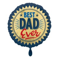 Ballon aluminium Best Dad bleu-or 43cm