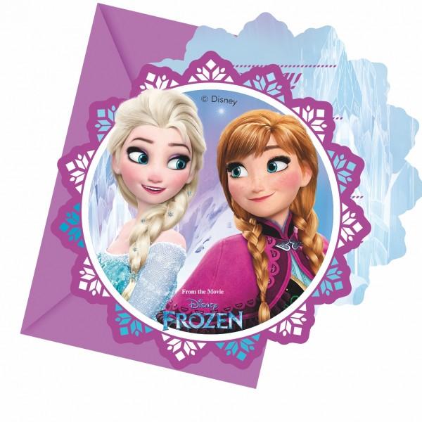6 Frozen Nordlicht Einladungskarten