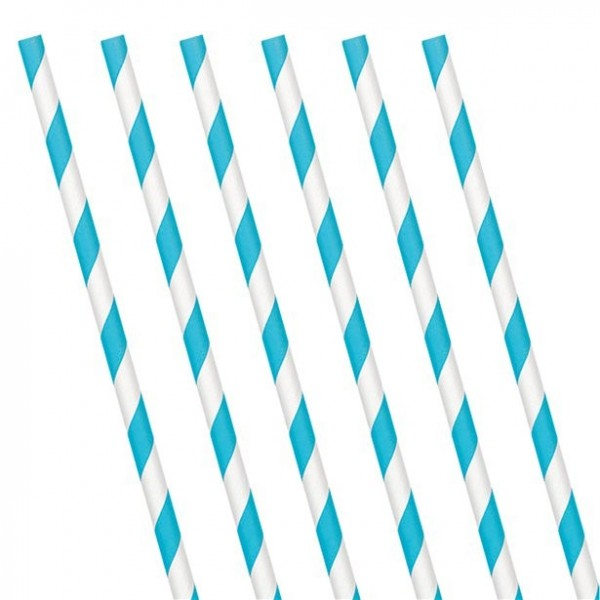 24 striped paper straws azure blue 19cm