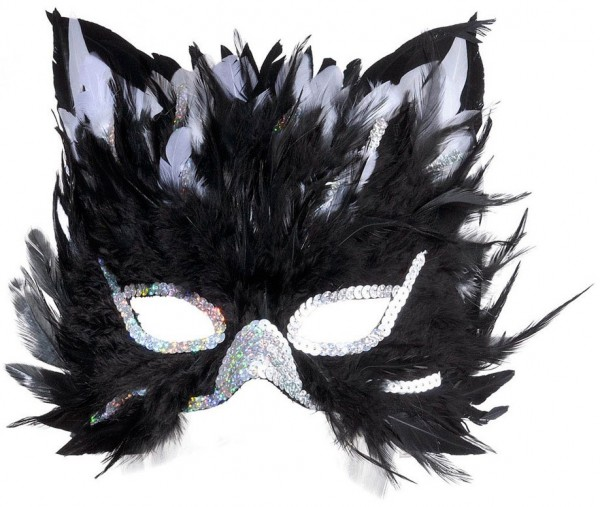 Cats eye mask with feather trim