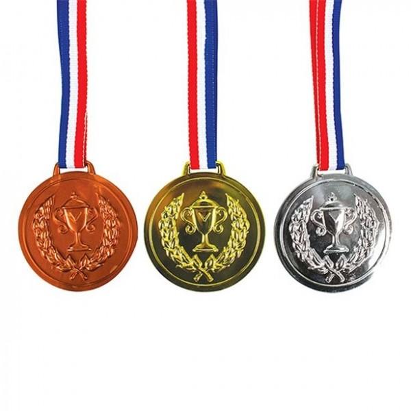 3 Medaillen gold, silber, bronze