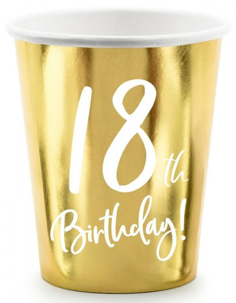 6 Glossy 18th Birthday cups 220ml