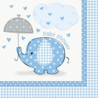 16 Elefanten Baby Party Servietten Azurblau 33cm