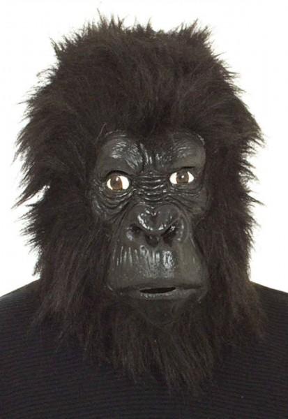 Gorilla Latexmaske mit Fellbesatz