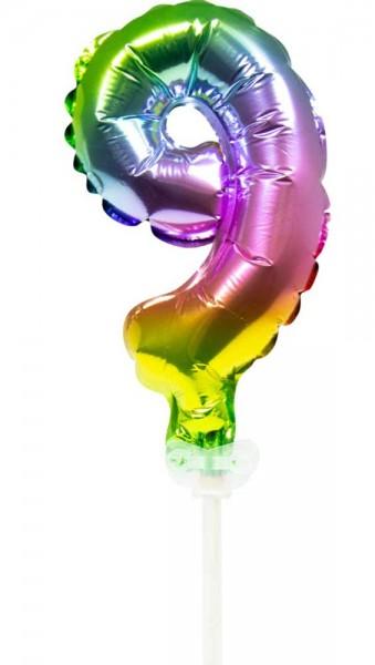 Globo de decoración de pastel de arco iris número 9