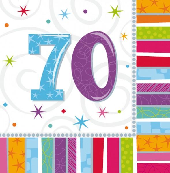 16 Bunte Regenbogen Servietten 70.Geburtstag