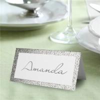50 Silberne Hochzeit Tischkarten glitzernd
