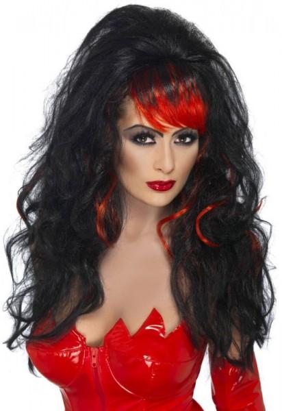 Halloween wig long hair wild black red pony