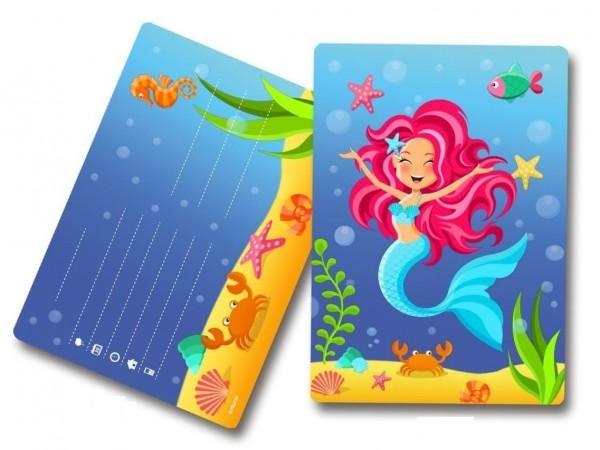 8 Einladungskarten Meerjungfrau Aquata