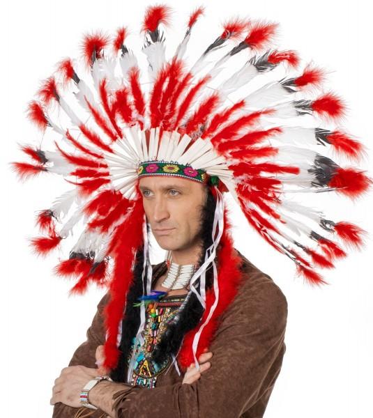 Indianer Häuptling Federkopfschmuck Rot Weiß