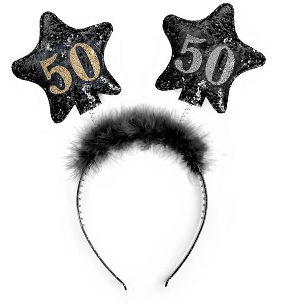 Shiny 50th Birthday headband 13cm
