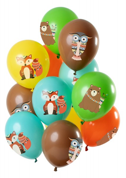 12 latex balloons forest animals colorful