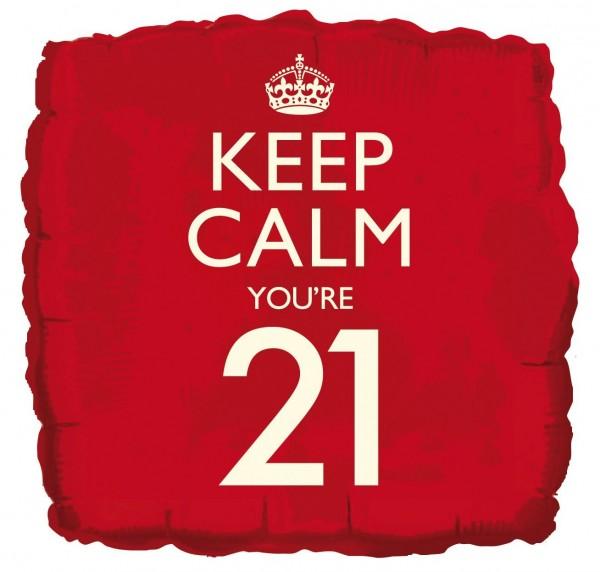 Gardez votre calme vous êtes 21 ballon aluminium 46cm
