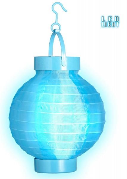 Farol de tela celeste con luz LED 15 cm