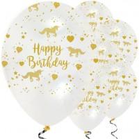6 Golden Unicorn Ballons transparent 30cm