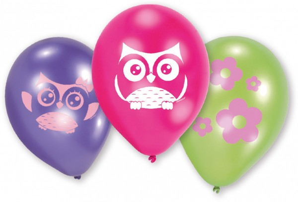6 Hinreißende Eulen Luftballons 23 cm
