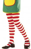White-Red Striped Tights for Kids
