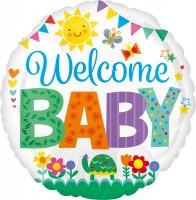 Bunter Folienballon Welcome Baby 43cm