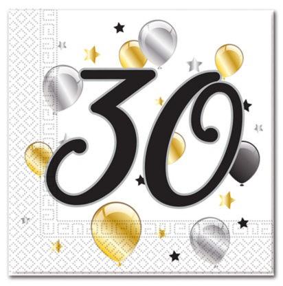 20 Goldene Milestone 30 Servietten