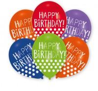 6 Happy Birthday Ballons mit Punkten 28 cm