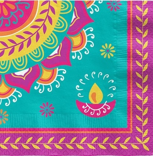 16 tovaglioli colorati Diwali 25 cm