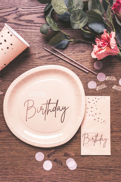 80. Geburtstag 8 Pappteller Elegant blush roségold