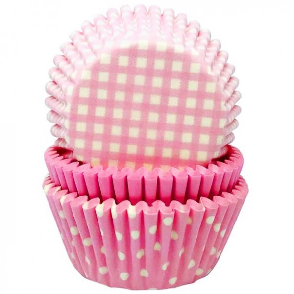 48 pink muffin cases with pattern