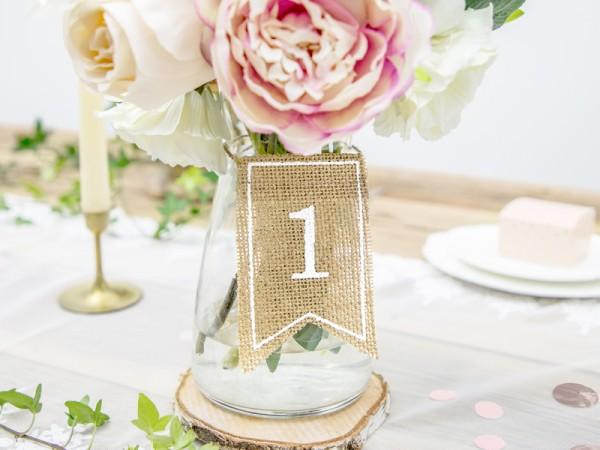 20 Jute Tischnummern Schilder