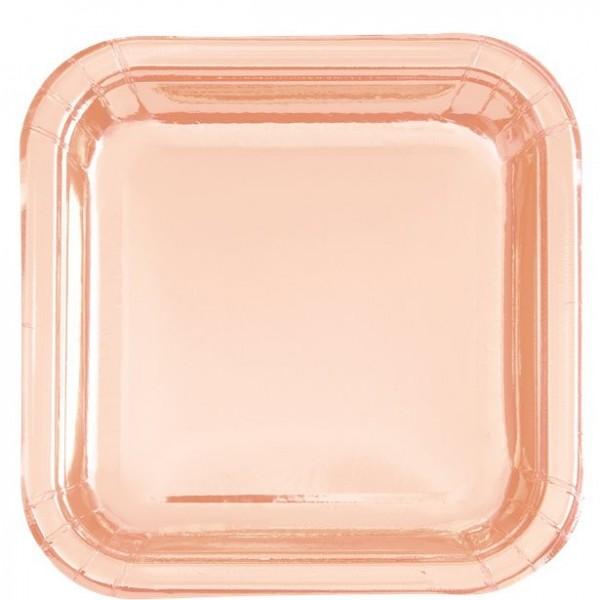 8 piatti quadrati per feste in oro rosa metallizzato 23 cm