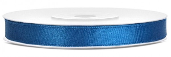 25m satin gift ribbon blue 6mm wide