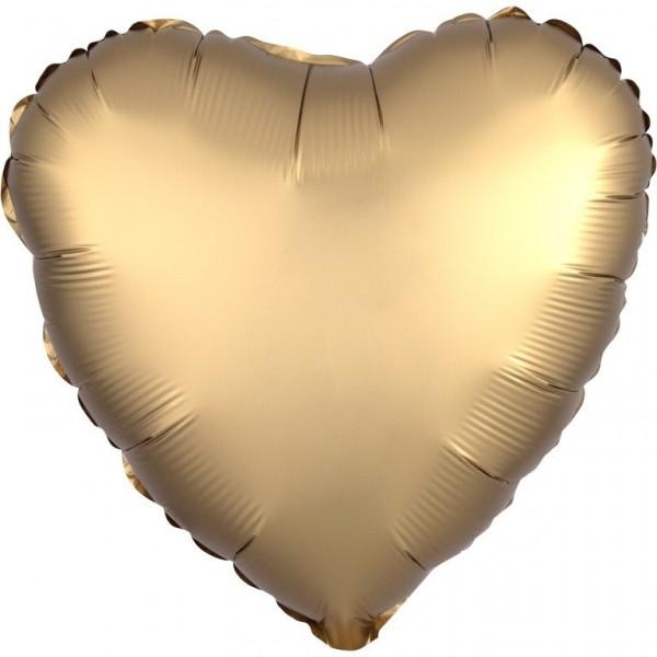 Herz Folienballon Luxe Gold Satin-Optik