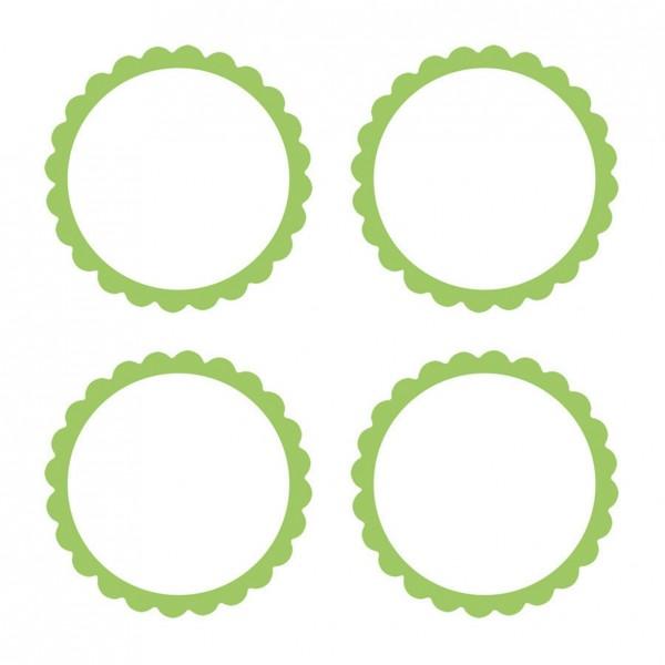 20 etykiet w formie bufetu z zieloną obwódką w kolorze kiwi