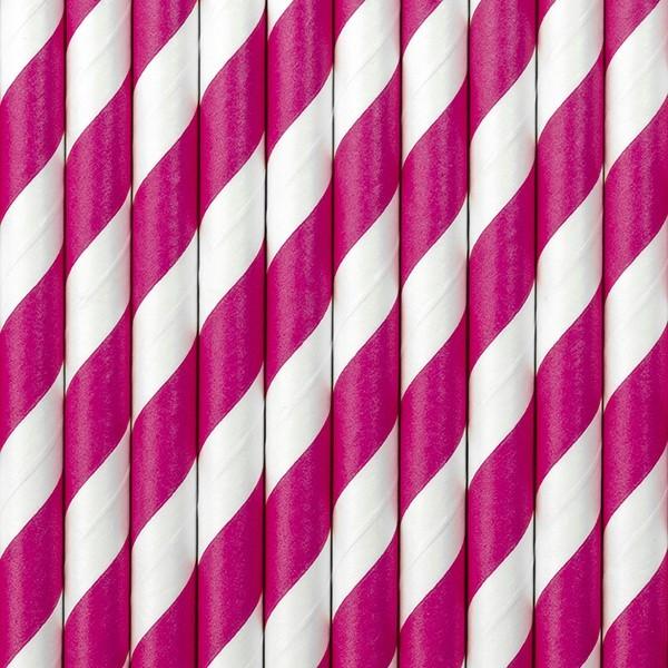 10 stribede papirstrå lyserøde 19,5 cm