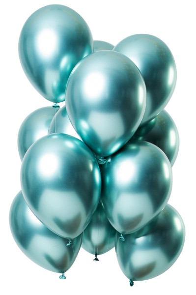 12 latex balloons mirror effect green