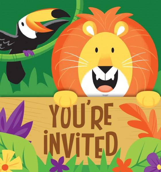 8 Safari Abenteuer Einladungskarten