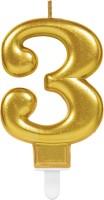 Goldene metallic Zahl 3 Tortenkerze 7,5cm