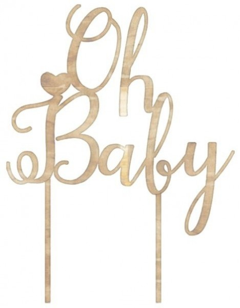 Oh baby cake decoration made of wood 12.5cm