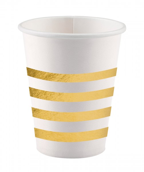 8 vasos de papel Golden New Year 250ml