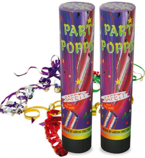 2 Streamer Party Poppers Holographic 21cm