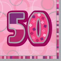 16 Happy Pink Sparkling 50th Birthday Serviette 33cm