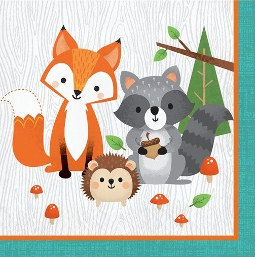 16 servilletas de animales del bosque 33cm