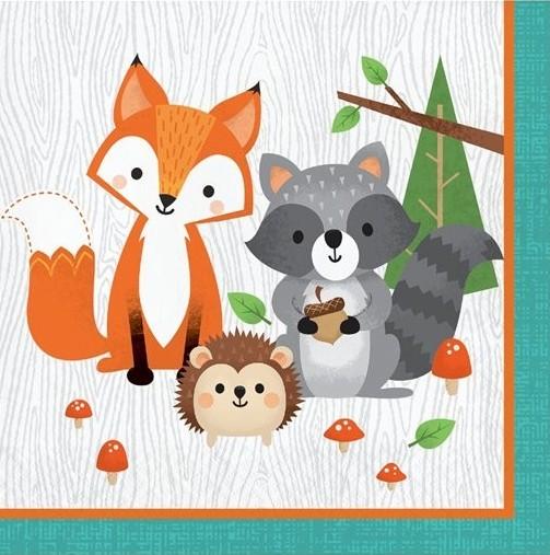 16 forest animals napkins 33cm