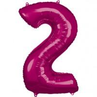 Zahlenballon 2 Metallic Pink 86cm