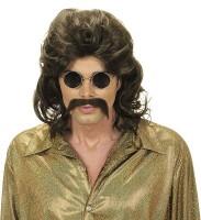 Braune Hippie Perücke mit Schnurrbart