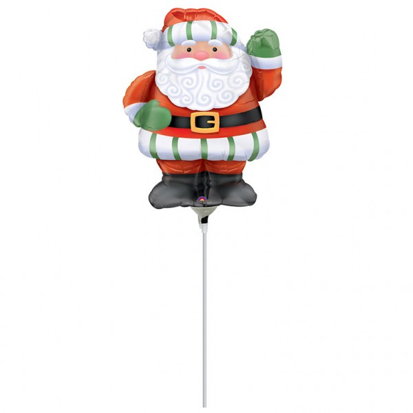Happy Santa stick balloon 37cm