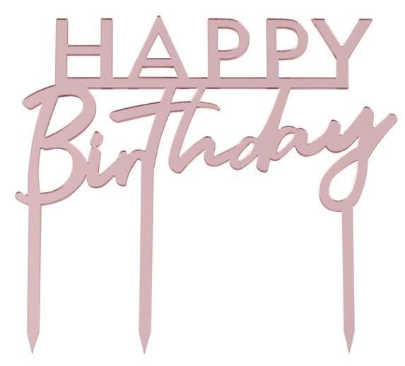Décoration de gâteau acrylique joyeux anniversaire or rose 11 x 12cm