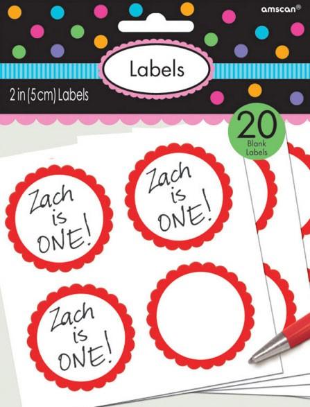 20 étiquettes autocollantes avec bordure fleurie rouge