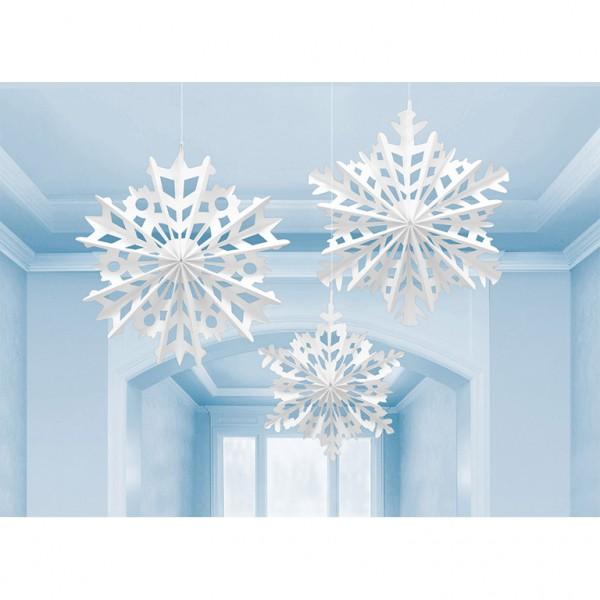 3 filigree snowflake hangers